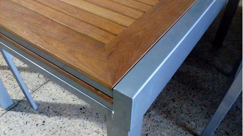 mesa extensible 1.35 a 2.70 x 0.90m aluminio / madera teka