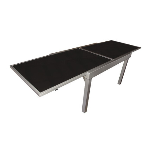mesa extensible 1.35 a 2.70 x 0.90m aluminio / vidrio negro