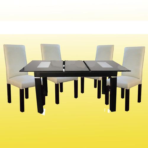 mesa extensible 1.4 x 0.85 + 4 sillas vestidas tap,ecocuero