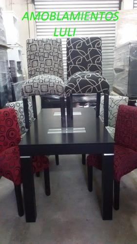 mesa extensible 1,60 a 2,00 x 85 mas 6 sillas en chenille