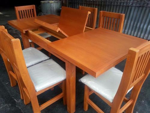 mesa extensible  de 1,40 x 80 a 1,90 mas 6 sillas promoción