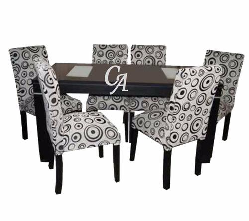mesa extensible de 1,60 a 2,00+6 sillas vestidas en chenille