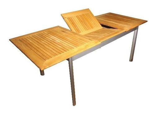 mesa fario extensible de aluminio y teka 2.20 a 2.80 x 1.00