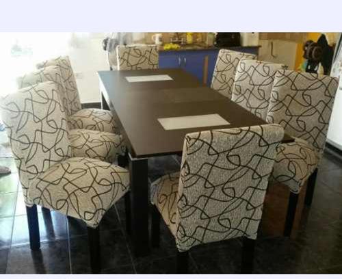 mesa fija 160 x  80 + 8 sillas vestidas en chenille