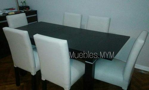mesa fija de200+ 8 sillas vestidas en ecocuero.