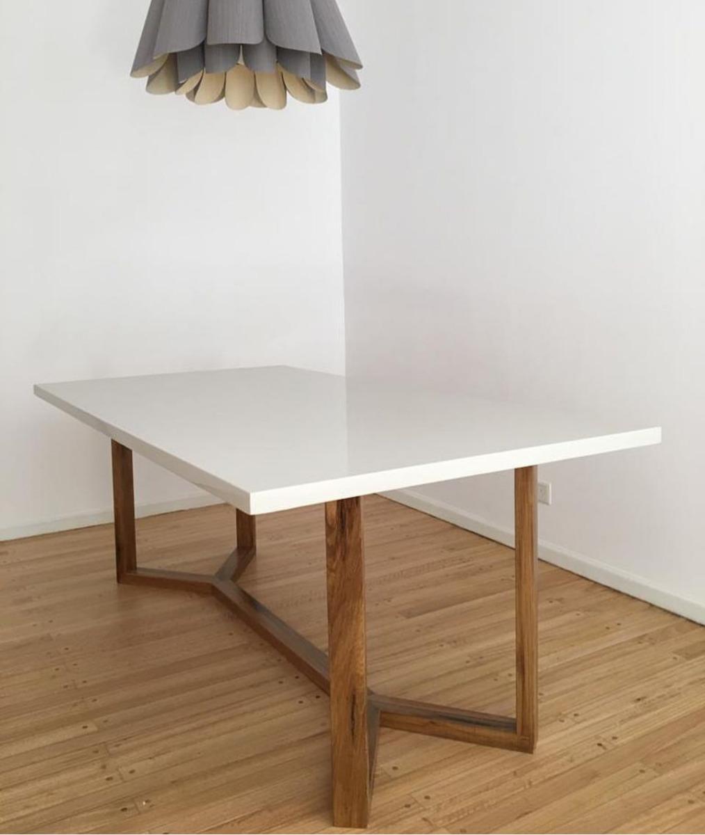Mesa Flüer Diseño Comedor Madera Petiribi Moderno Blanca