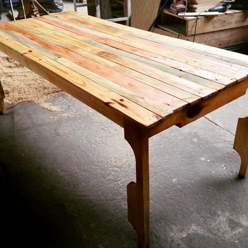 mesa fontova 190x90x75 madera reciclada pantano pallet