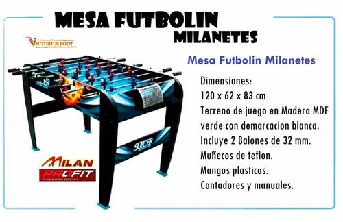 mesa futbolin futbolito milanetes milan madera mdf 120x62x83