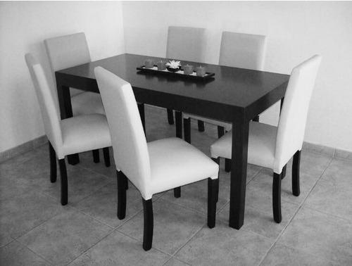 mesa guatambu wengue (1,60x0,80) + 6 sillas vestidas
