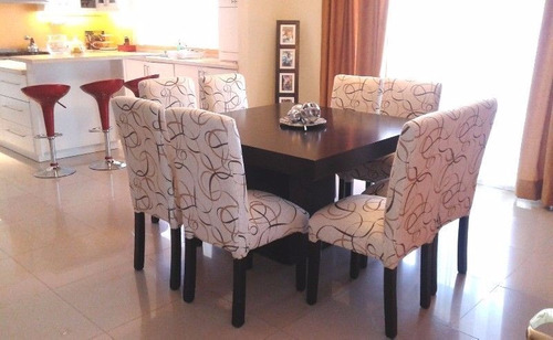mesa guatambu wengue 200x90 + 8 sillas vestidas cuerina 3f