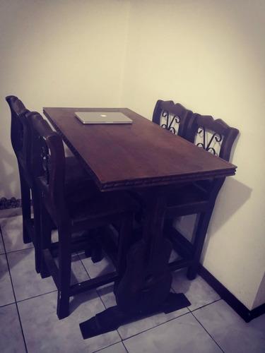 mesa guitarra rustica comedor más 4 sillas