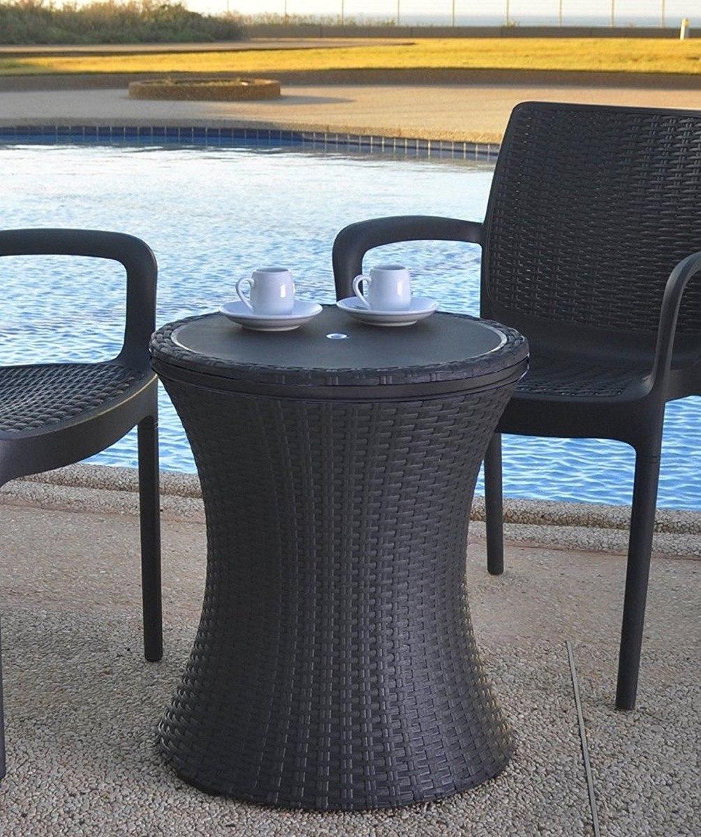 Mesa hielera decorativa jard n bebidas cooler alberca for Mesas de rattan para jardin