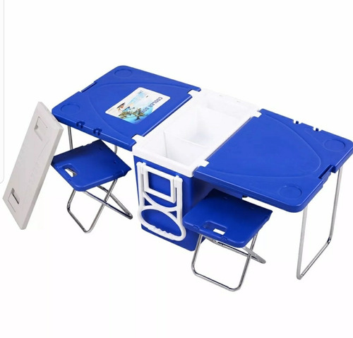 mesa-hielera plegable con sillas integradas camping,pesca