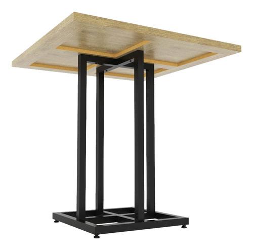 mesa industrial bistrô baixa em madeira mdf e aço equiflex