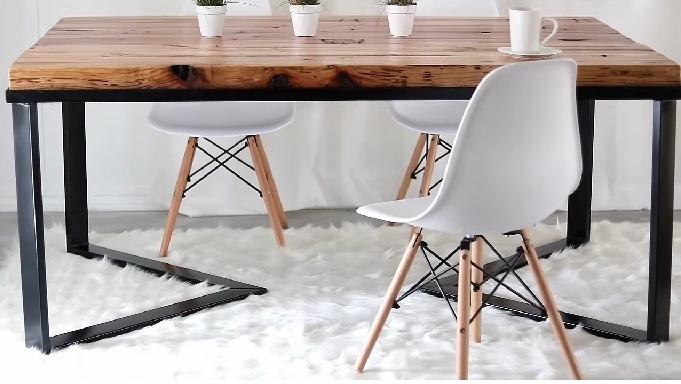 silla comedor metal y madera