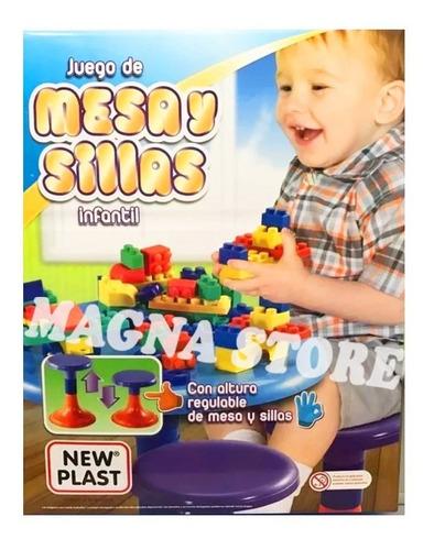 mesa infantil + 2 sillas + bloques encastre cubiertos 2a5 añ
