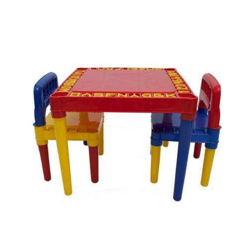 mesa infantil com 2 cadeira educativa para crianças 3827