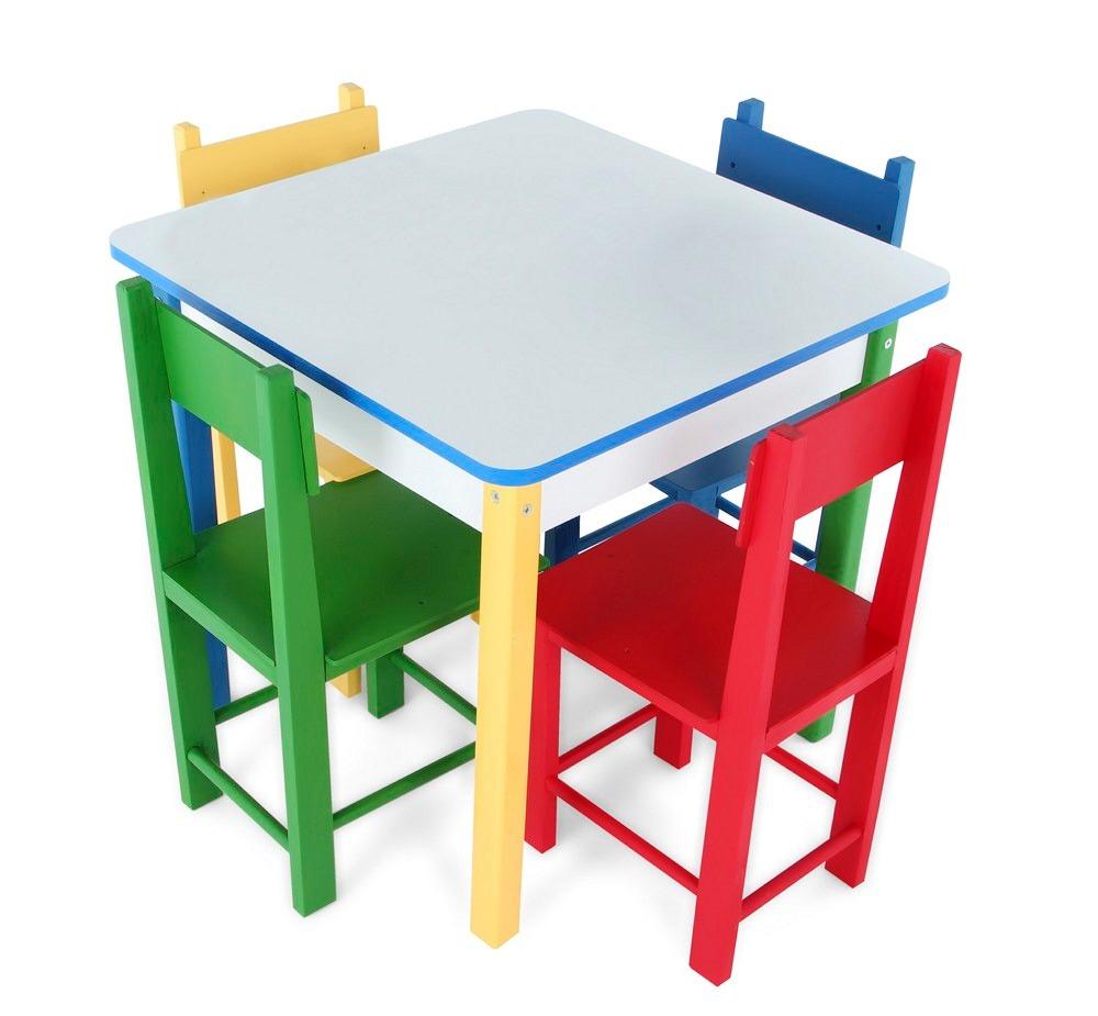 Mesa infantil com 4 cadeiras de madeira e mdf 5017 carlu for Mesa infantil carrefour