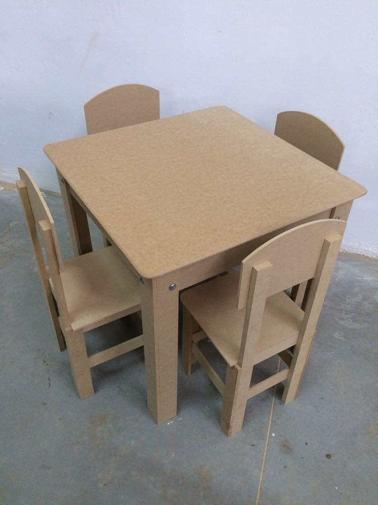 194dba9aa mesa infantil com 4 cadeiras em mdf cru frete grátis. Carregando zoom.
