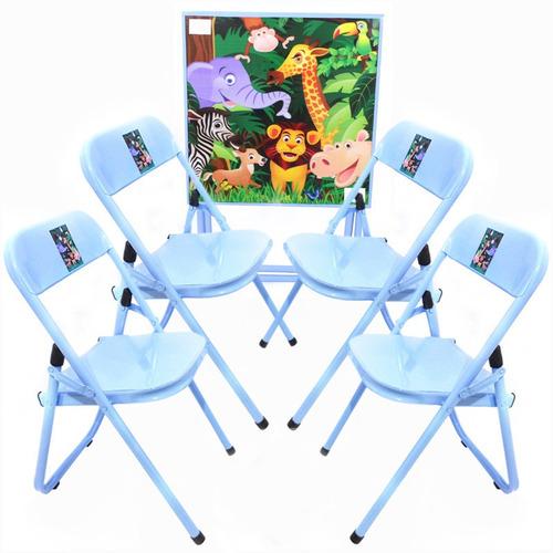 mesa infantil criança com 4 cad didatica dobrável promoção