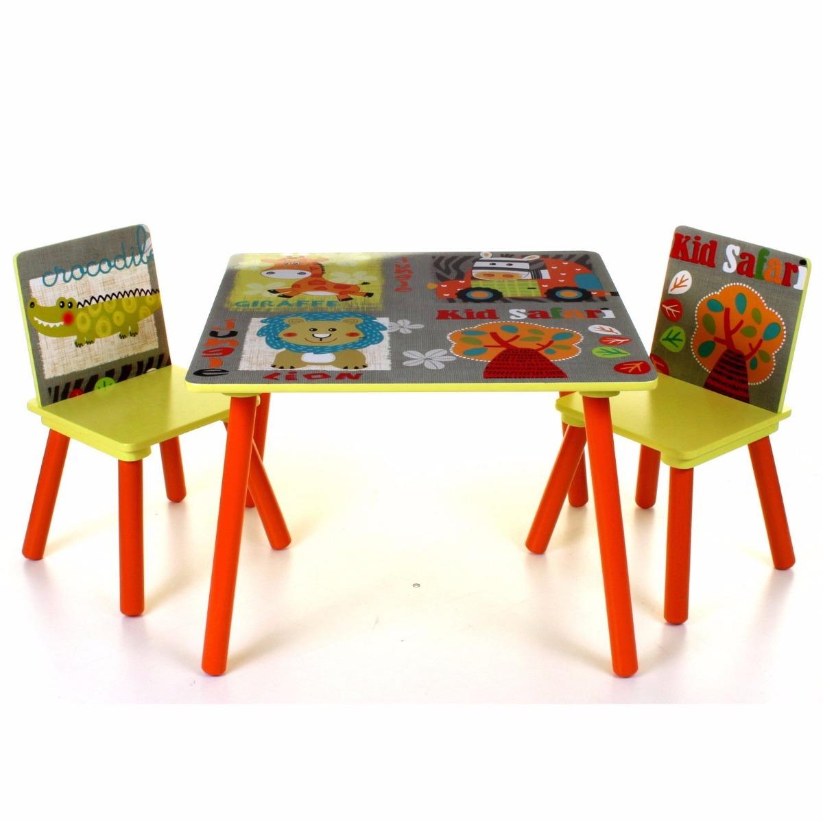 Mesa infantil de madeira com 2 cadeiras colorida zoo infla for Mesa infantil