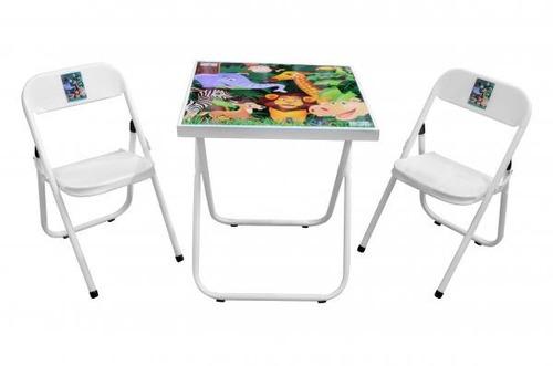 mesa infantil didática brinquedo em aço com 2 cadeiras