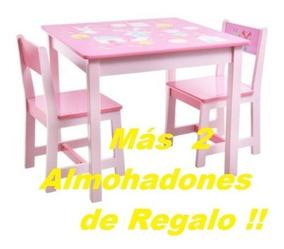 Mesa Infantil Nena 2 Sillas Almohadones Envio Gratis