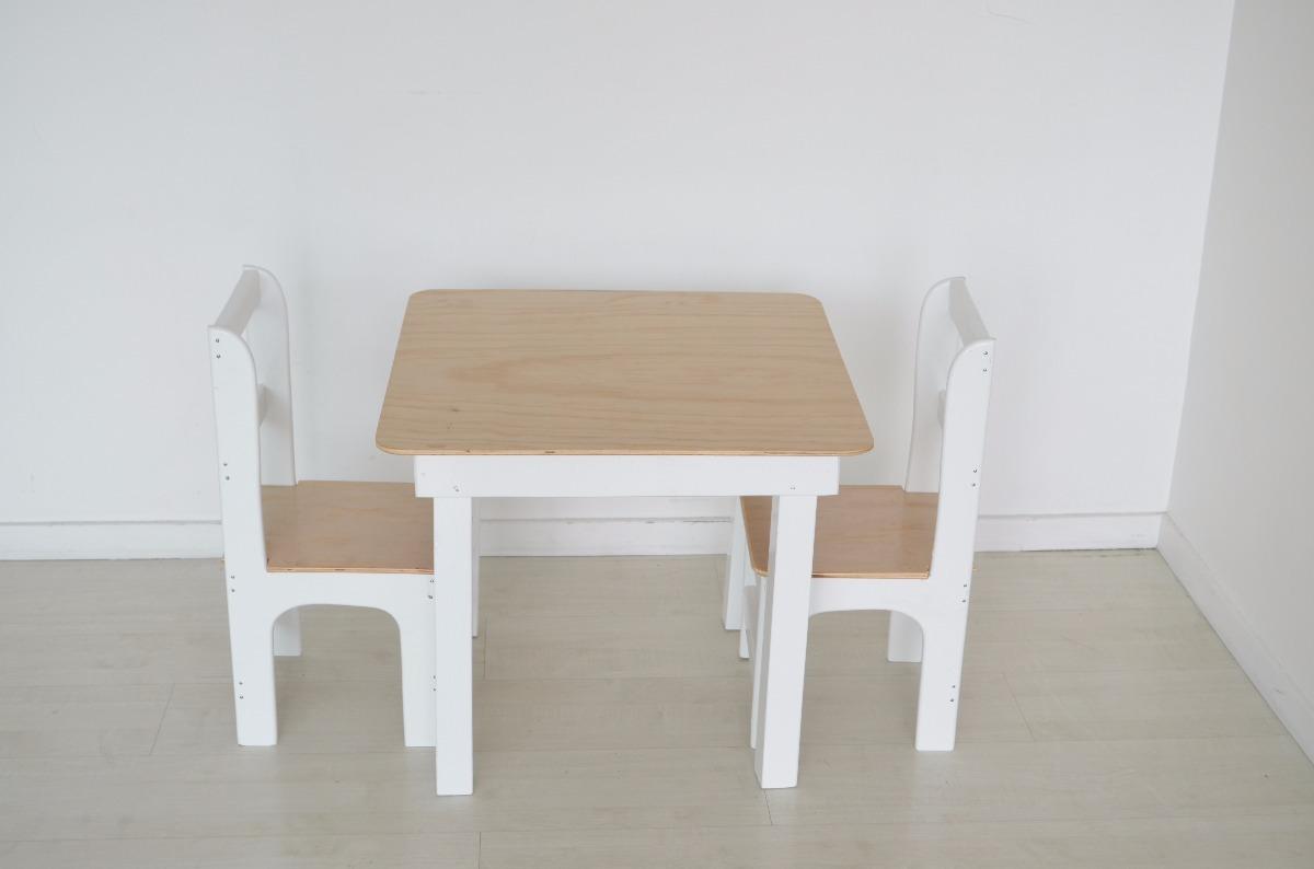 Mesa infantil ni os madera sillas muebles carpinterajuegos en mercado libre - Mesas madera ninos ...