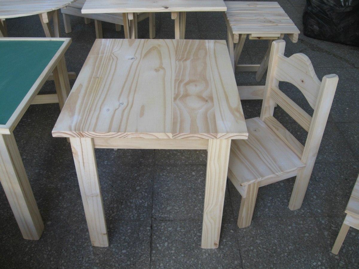 mesa infantil para chicos nios madera pino natural