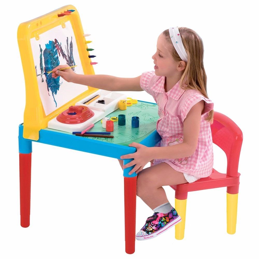 Mesa infantil pequeno artista cadeira e quadro 9052 bell for Mesa infantil