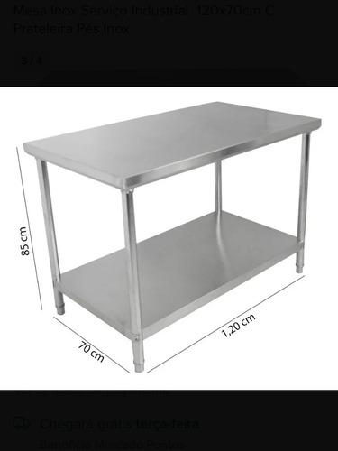 mesa inox serviço industrial. 120x70cm c prateleiras inox