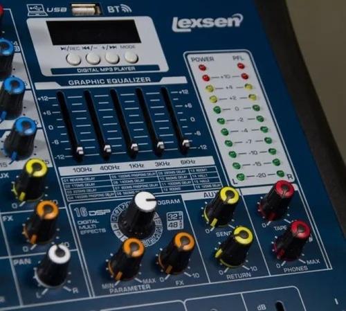 mesa interface 12 canais lmx12-usb lexsen bluetooth efeitos