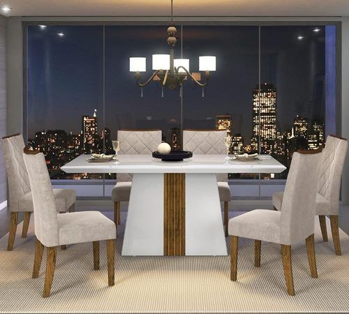 mesa italia tampo chanfrado vidro 6 cadeiras golden dj movei