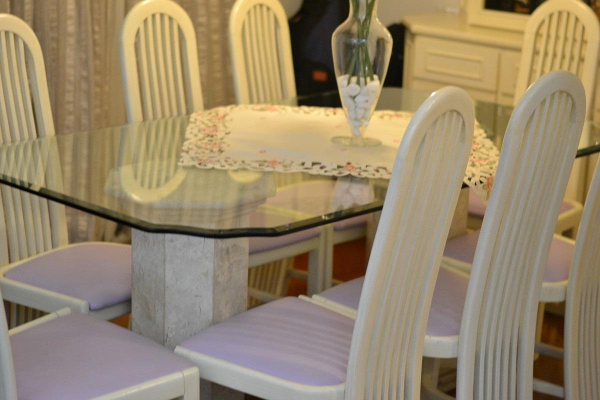 Mesa Sala De Jantar Tampo De Vidro ~ Mesa Jantar 8 Lugares  Tampo De Vidro  Base De Marmore  R$ 2950,00