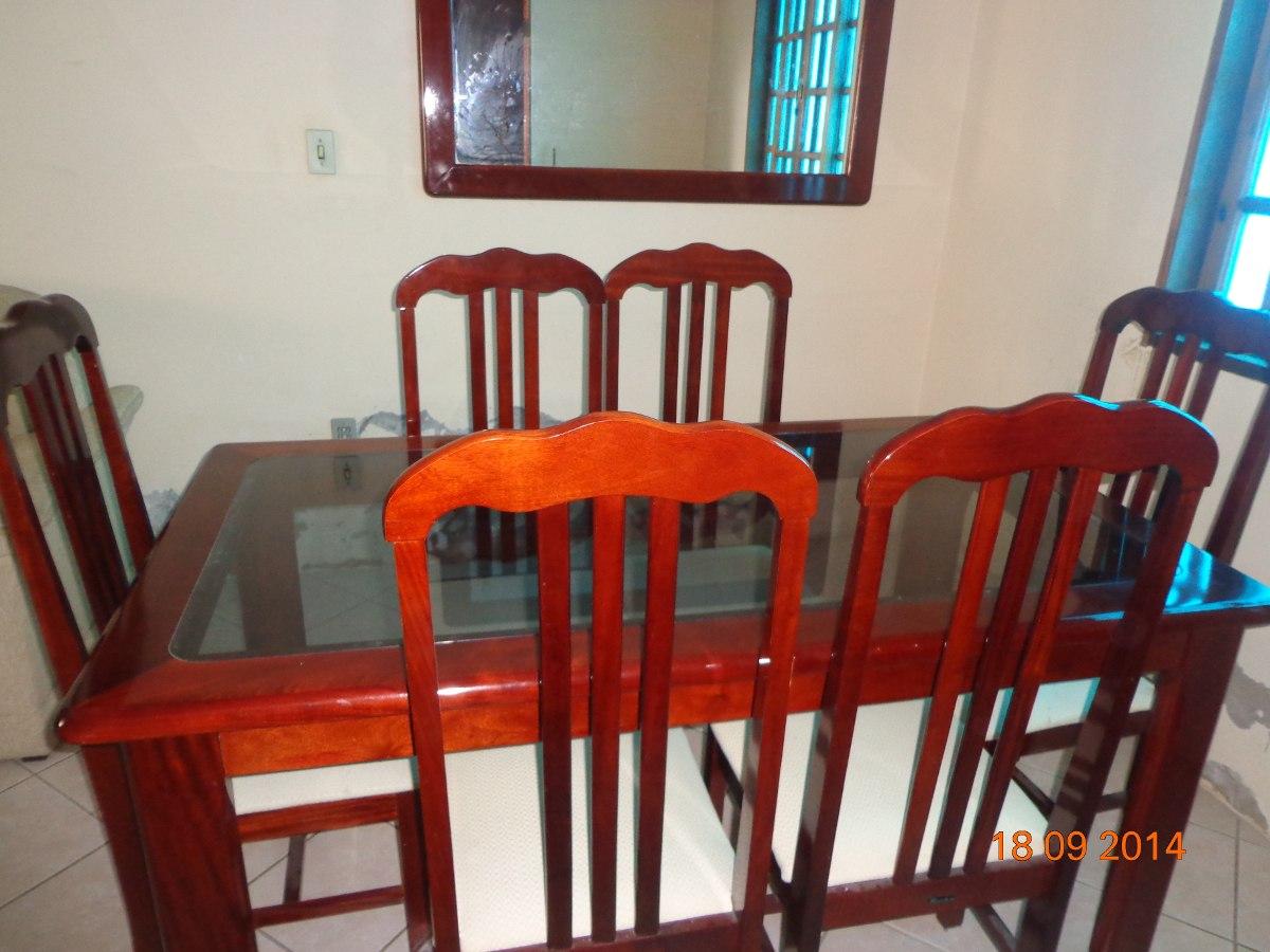 De Jantar Madeira C Tampo De Vidro 6 Cadeiras R$ 510 00 em Mercado  #C0310B 1200x900