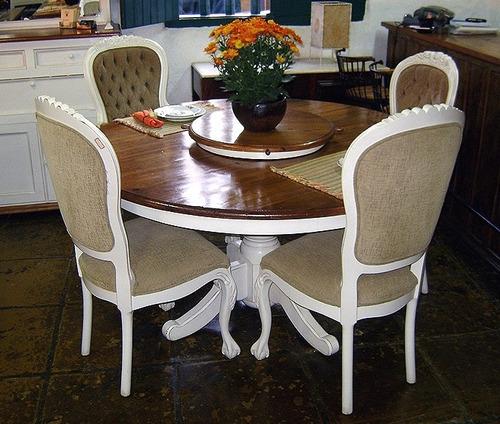 mesa jantar café redonda peroba madeira demolição pé central