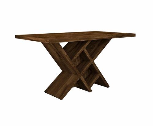 mesa jantar duomo tampo madeira rustico malbec - dj móveis