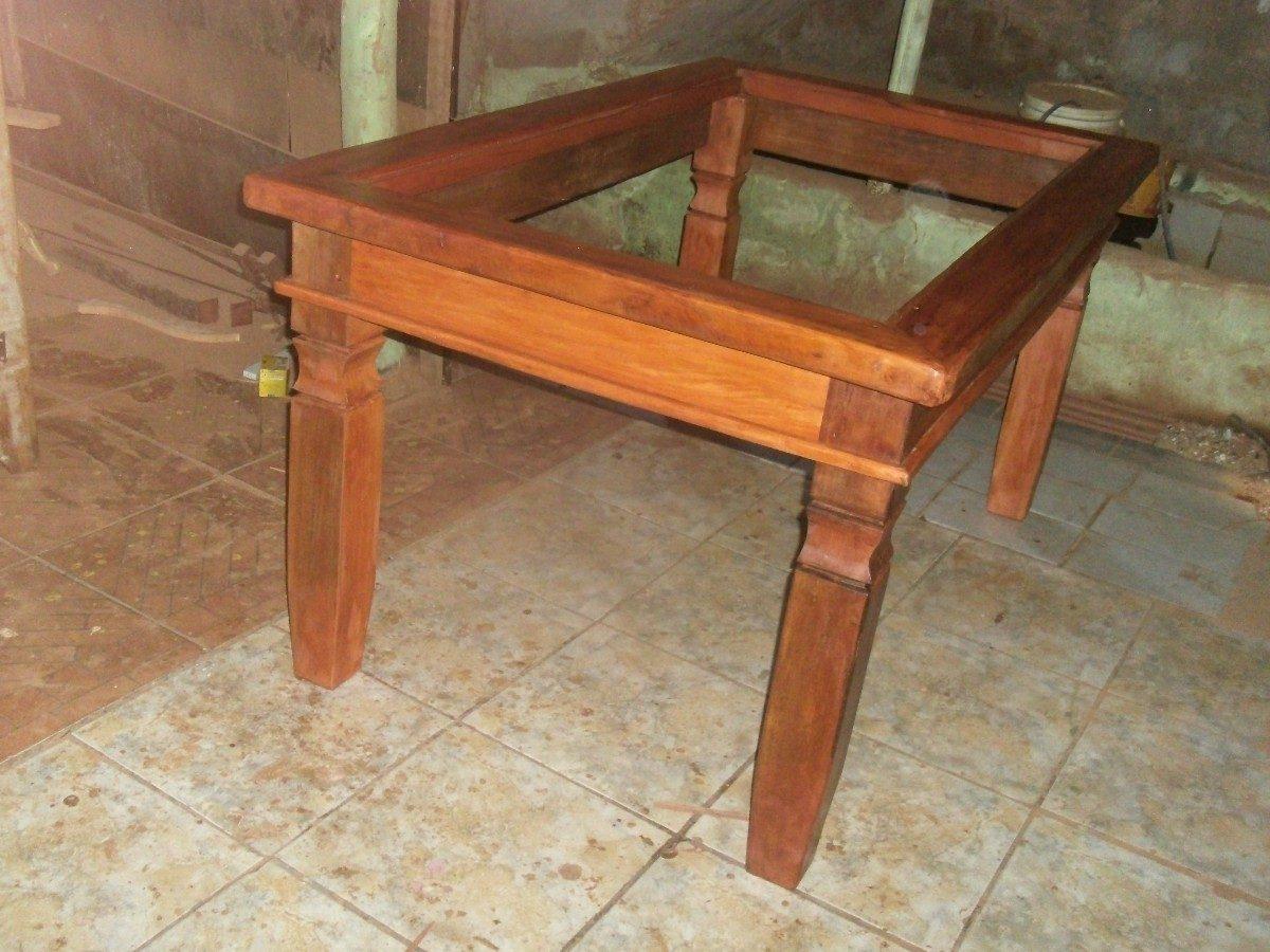 Mesa De Jantar Em Madeira Rustica Com Tampo Para Vidro R$ 999 00 em  #A34D28 1200 900