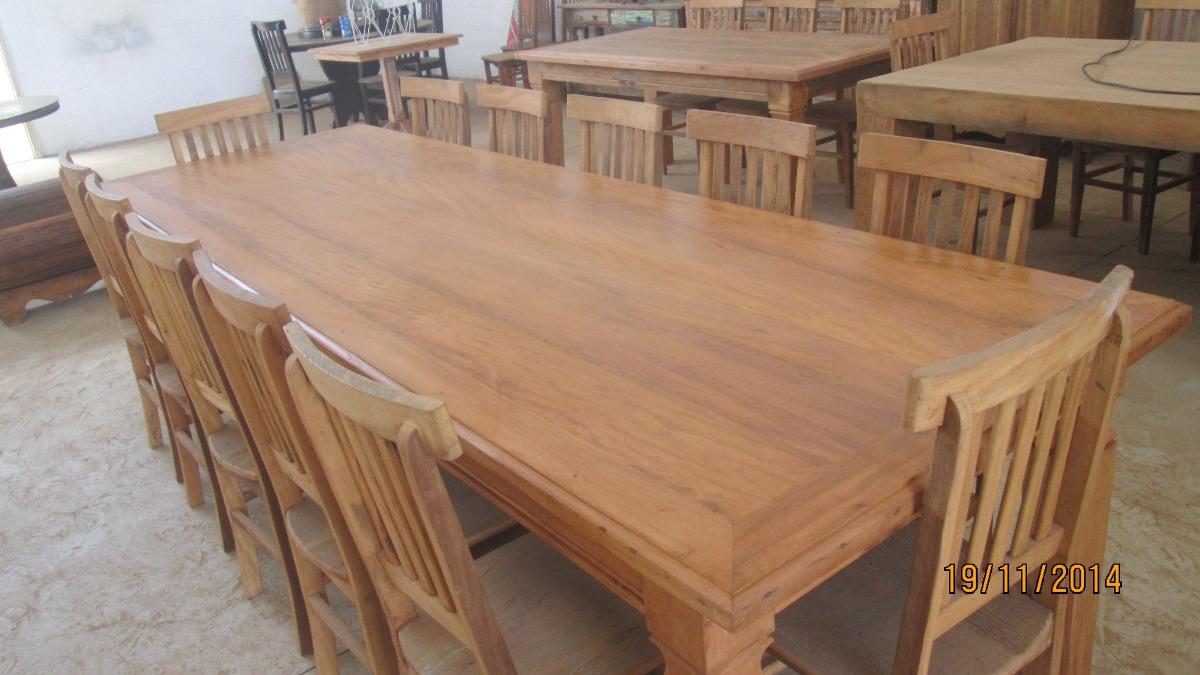 Mesa de jantar madeira maci a r stica 3 metros 12 for Mesa comedor 3 metros