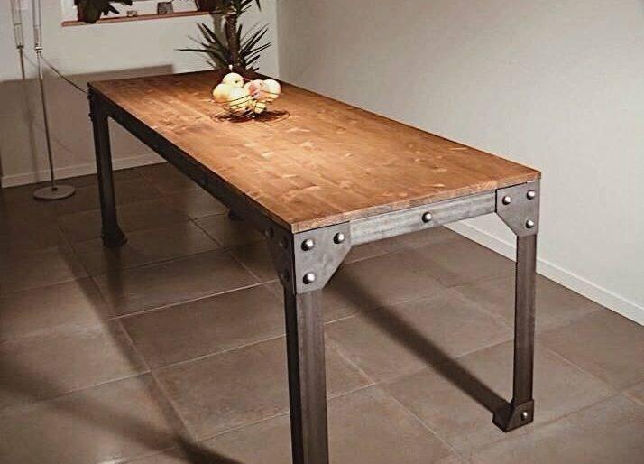 Mesa de jantar madeira demoli o com estilo industrial r - Mesas estilo industrial baratas ...