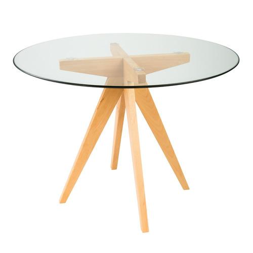 mesa jantar madeira natural olmo com tampo de vidro 10mm