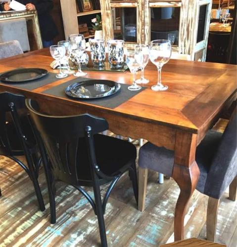 mesa jantar pés luis xv  madeira demolição 6 lugares