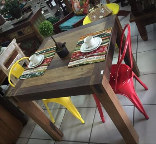 mesa jantar quadrada madeira