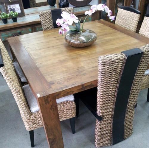 mesa jantar quadrada peroba madeira demolição sem cadeiras