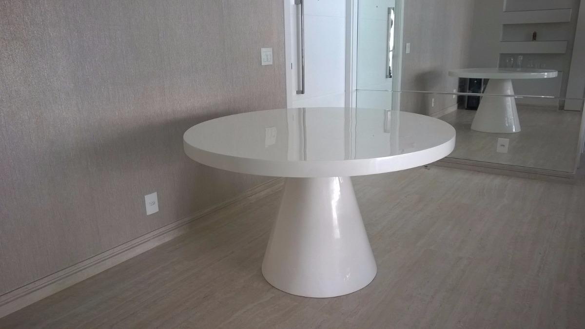 Sala De Jantar Mesa Redonda Branca ~ Mesa De Jantar Redonda Em Resina Branca Para 6 Lugares  R$ 2350,00