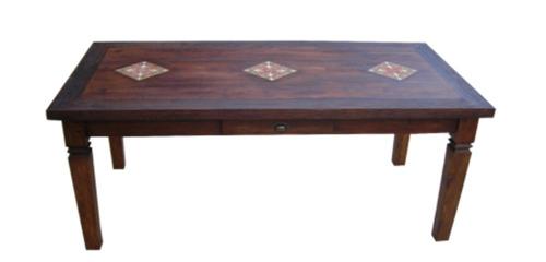 mesa jantar retangular ladrilhos madeira demolição 6 lugares