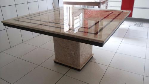 mesa jantar travertino com resina tpo med 1.20 x 1.20