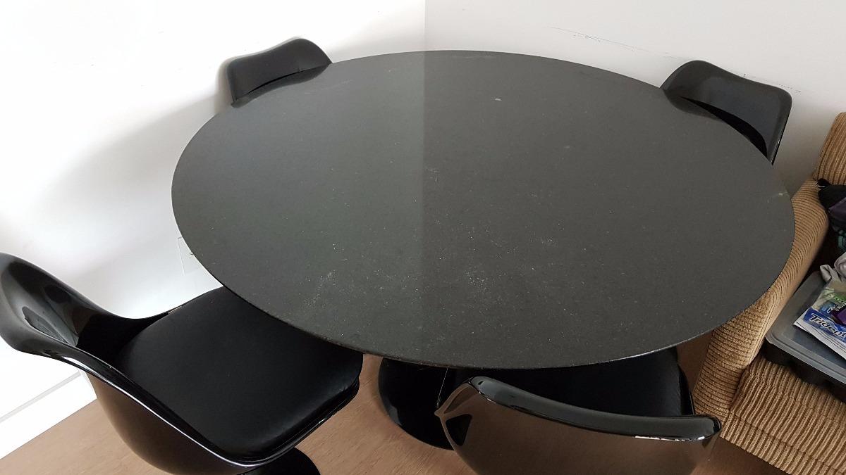 Artesanato Feltro ~ Mesa Jantar Tulip Preta 1,30m(redonda) + 4 Cadeiras Tok