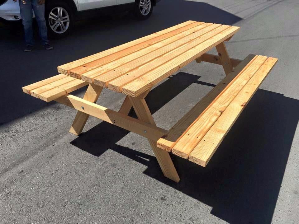 Mesa picnic pic nic jardin madera banca exterior - Mesa madera exterior ...