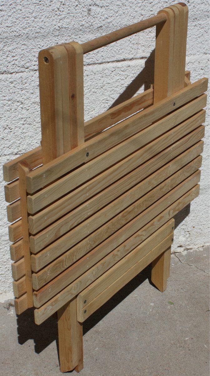 Mesa de jard n mueble plegable madera jardin o interiores for Mesa y banco de jardin